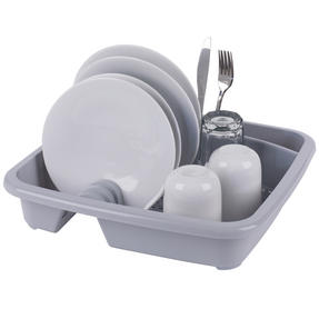 Beldray LA057358GREYEU Plastic Dish Drainer with Cutlery Rack, Grey Thumbnail 2