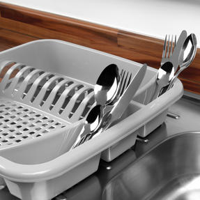 Beldray LA057358GREYEU Plastic Dish Drainer with Cutlery Rack, Grey Thumbnail 5