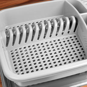 Beldray LA057358GREYEU Plastic Dish Drainer with Cutlery Rack, Grey Thumbnail 6