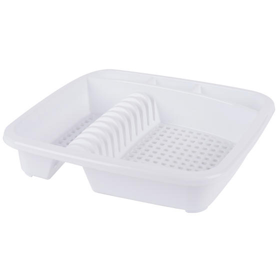 Beldray LA057358WHITEEU Plastic Dish Drainer with Cutlery Rack, White