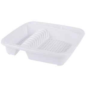 Beldray LA057358WHITEEU Plastic Dish Drainer with Cutlery Rack, White Thumbnail 1