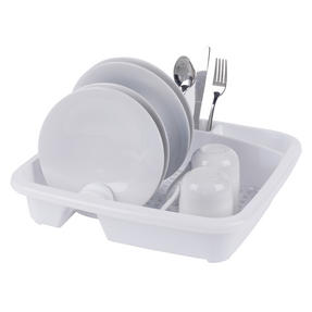 Beldray LA057358WHITEEU Plastic Dish Drainer with Cutlery Rack, White Thumbnail 2