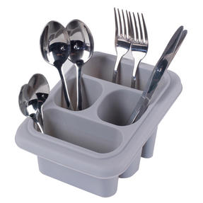 Beldray LA057389GREYEU Plastic Cutlery Drainer with Four Compartments, 18 x 16 x 12 cm, Grey Thumbnail 1