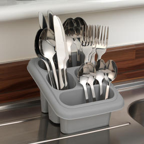 Beldray LA057389GREYEU Plastic Cutlery Drainer with Four Compartments, 18 x 16 x 12 cm, Grey Thumbnail 3