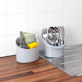 Beldray LA057433GREYEU Plastic 2-in-1 Cutlery Drainer and Holder, Grey Thumbnail 6