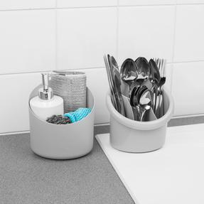 Beldray LA057433GREYEU Plastic 2-in-1 Cutlery Drainer and Holder, Grey Thumbnail 7