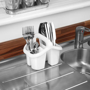 Beldray LA057457WHITEEU Four Compartment Cutlery Drainer, White Thumbnail 3