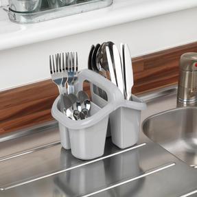 Beldray LA057457GREYEU Four Compartment Cutlery Drainer, Grey Thumbnail 3