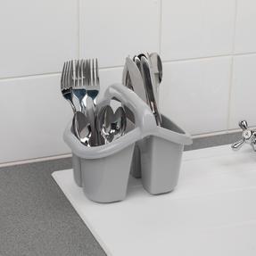 Beldray LA057457GREYEU Four Compartment Cutlery Drainer, Grey Thumbnail 4