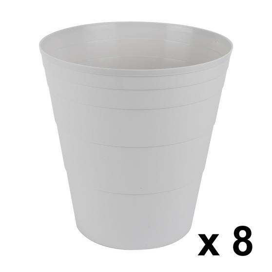 Beldray COMBO-3643 Office Bin Waste Paper Basket, Set of 8, Grey