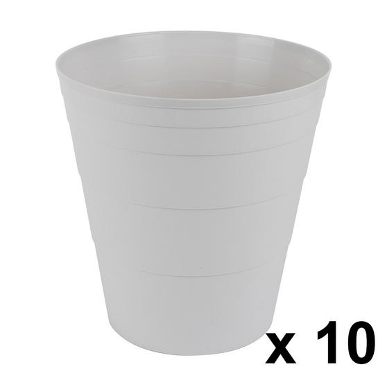 Beldray COMBO-3644 Office Bin Waste Paper Basket, Set of 10, Grey