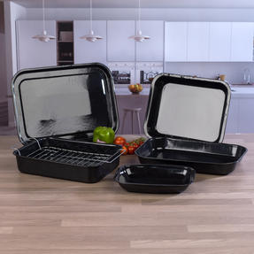 Russell Hobbs COMBO-3162 Romano Vitreous Enamel Roaster, Rack, Baking Tray and Chop Tray Set, 6 Piece Thumbnail 3