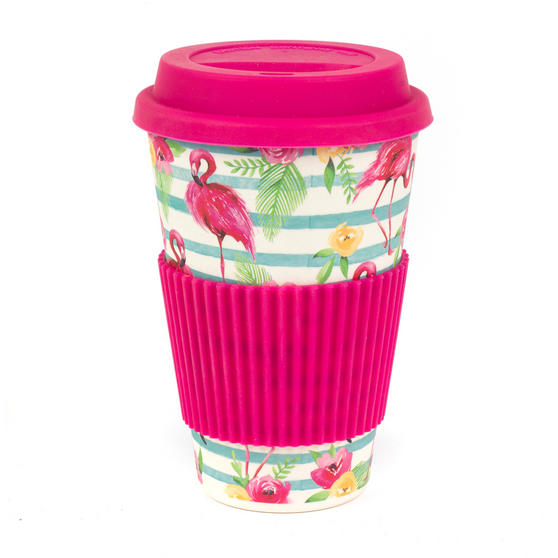 Cambridge CM05775 Flamingo Floral Bamboo Eco Travel Mug, Set of 2