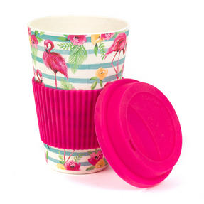 Cambridge CM05775 Flamingo Floral Bamboo Eco Travel Mug, Set of 2 Thumbnail 2