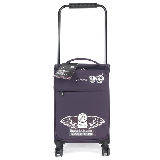 "ZFrame 18"" Small 4 Double Wheel Super Lightweight Cabin Suitcase, 1.98 kg, 30 Litre, Purple, 10 Year Warranty"