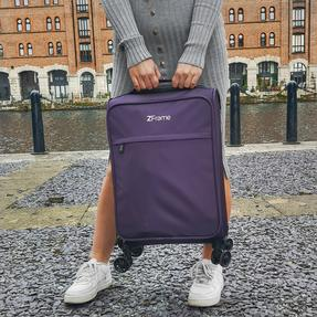 "ZFrame 18"" Small 4 Double Wheel Super Lightweight Cabin Suitcase, 1.98 kg, 30 Litre, Purple, 10 Year Warranty Thumbnail 7"
