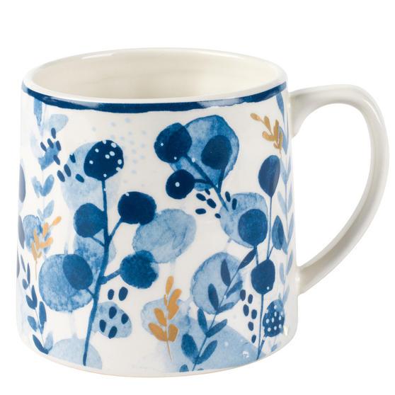 Portobello CM06057 Irena Gold Tank Mugs, Blue and Gold, Set of 4