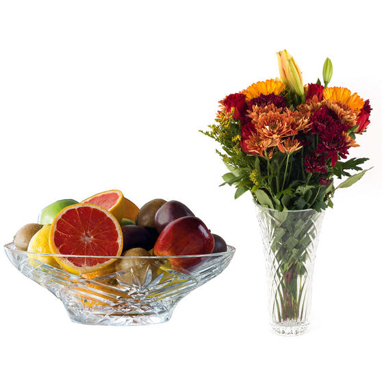 "RCR COMBO-3419 Melodia Luxion Dishwasher Safe Crystal 12"" Vase and Centrepiece Bowl"