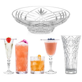 RCR COMBO-3663 Melodia Luxion Crystal Drinkware Collection with Vases and Bowl, 51 Piece