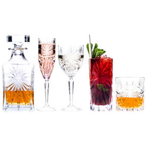 RCR COMBO-3668 Oasis Luxion Crystal Drinkware Collection with Decanter, 25 Piece