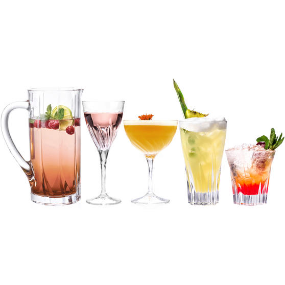 RCR COMBO-3671 Fluente Luxion Crystal Drinkware Collection, 25 Piece