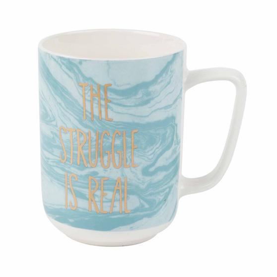 Portobello CM06123NBC The Struggle Is Real Devon Mugs, Blue and White, Set of 8