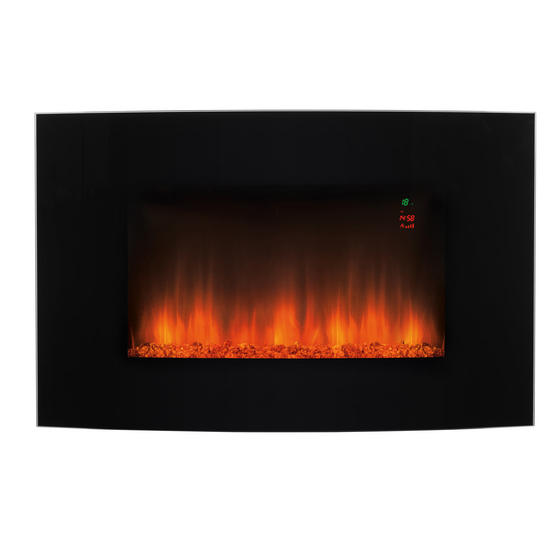 Beldray Alto Electric Curved LED Wall Fire, 1000 W/2000 W, Black Thumbnail 1