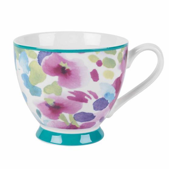 Portobello CM06168NBC Faye Polka Teal Sandringham NBC Floral Mug, Set of 8