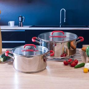 Pyrex COMBO-3401 Passion Stainless Steel Casserole Dishes with Lids, 20/24 cm Thumbnail 3