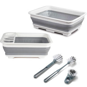 Beldray COMBO-3398 Collapsible Dish Draining Board, Washing Up Bowl and Cleaning Brush Set, Grey/White