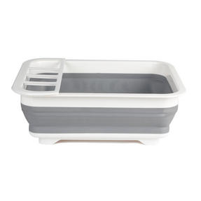 Beldray COMBO-3398 Collapsible Dish Draining Board, Washing Up Bowl and Cleaning Brush Set, Grey/White Thumbnail 5
