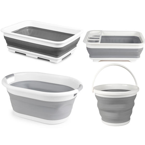 Beldray COMBO-3399 Collapsible Laundry Basket, Mop Bucket, Dish Drainer and Washing Up Bowl Set, Grey/White