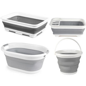 Beldray COMBO-3399 Collapsible Laundry Basket, Mop Bucket, Dish Drainer and Washing Up Bowl Set, Grey/White Thumbnail 1