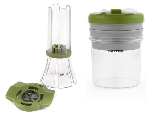 Salter COMBO-3489 Fruit and Vegetable Baton Stick Slicer and Meal Storage Pot Prep Set, White/Green