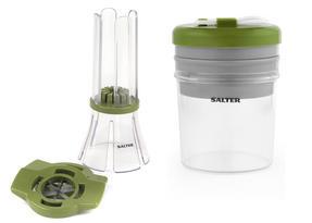 Salter COMBO-3489 Fruit and Vegetable Baton Stick Slicer and Meal Storage Pot Prep Set, White/Green Thumbnail 1