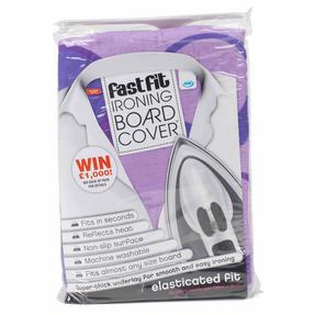 JML V0975PUR Fast Fit Ironing Board Cover, 139 cm x 49 cm, Purple Circles Print