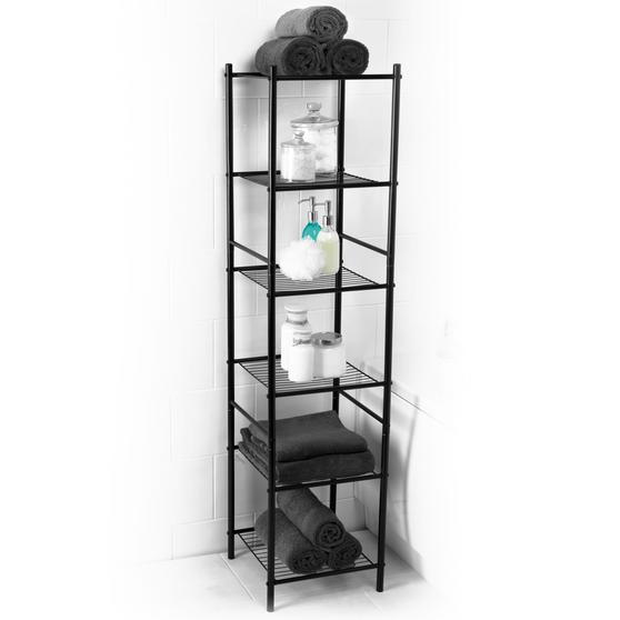 Beldray 6 Tier Bathroom Storage Caddy, 34 x 34 x 141 cm, Black Thumbnail 1