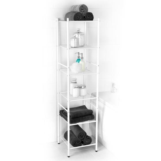 Beldray 6 Tier Bathroom Storage Caddy, 34 x 34 x 141 cm, White Thumbnail 1