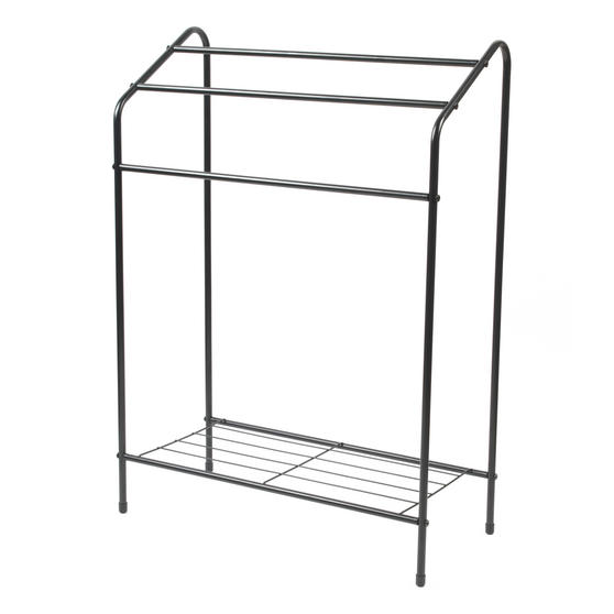 Beldray LA055514BLK 3 Tier Towel Rail with Rack, 60 cm x 28.5 cm x 83 cm, Black