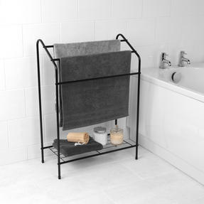 Beldray LA055514BLK 3 Tier Towel Rail with Rack, 60 cm x 28.5 cm x 83 cm, Black Thumbnail 2