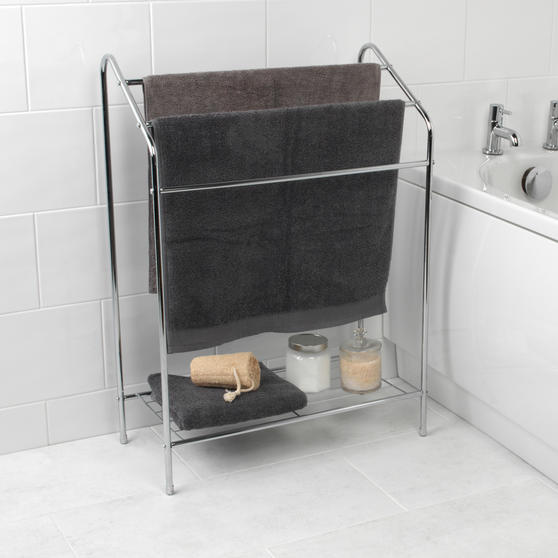 Beldray 3 Tier Towel Rail with Rack, 60 cm x 28.5 cm x 83 cm, Chrome Thumbnail 2