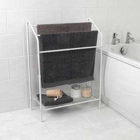 Beldray LA055514WHTE 3 Tier Towel Rail with Rack, 60 cm x 28.5 cm x 83 cm, White Thumbnail 1