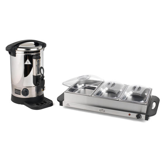 Giles & Posner COMBO-3466 Mulled Wine Dispenser Urn and Three-Pan Buffet Server, Stainless Steel
