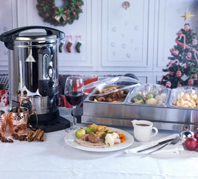 Giles & Posner COMBO-3466 Mulled Wine Dispenser Urn and Three-Pan Buffet Server, Stainless Steel Thumbnail 3