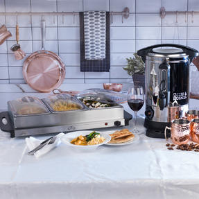 Giles & Posner COMBO-3466 Mulled Wine Dispenser Urn and Three-Pan Buffet Server, Stainless Steel Thumbnail 6