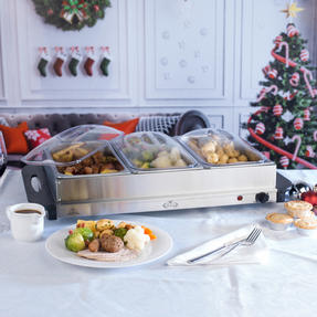 Giles & Posner COMBO-3466 Mulled Wine Dispenser Urn and Three-Pan Buffet Server, Stainless Steel Thumbnail 9