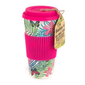 Cambridge CM05972 Tropical Forest Large Eco Travel Mug, Bamboo, Pink, Set of 6 Thumbnail 2