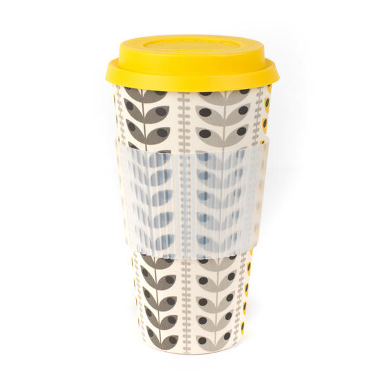 Cambridge CM06193 Retro Daisy Leaf Large Eco Travel Mug, Bamboo, Set of 2