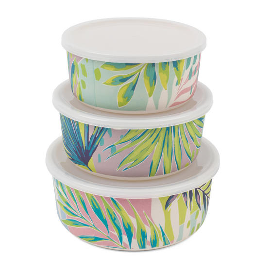 Cambridge CM06391 Reusable Lightweight Meal Prep Boxes, Stackable Food Containers, Set of 3, Kayan Print | Dishwasher Safe |BPA Free | Alternative to Single Use Plastics