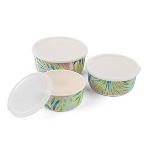 Cambridge CM06391 Reusable Lightweight Meal Prep Boxes, Stackable Food Containers, Set of 3, Kayan Print | Dishwasher Safe |BPA Free | Alternative to Single Use Plastics Thumbnail 2